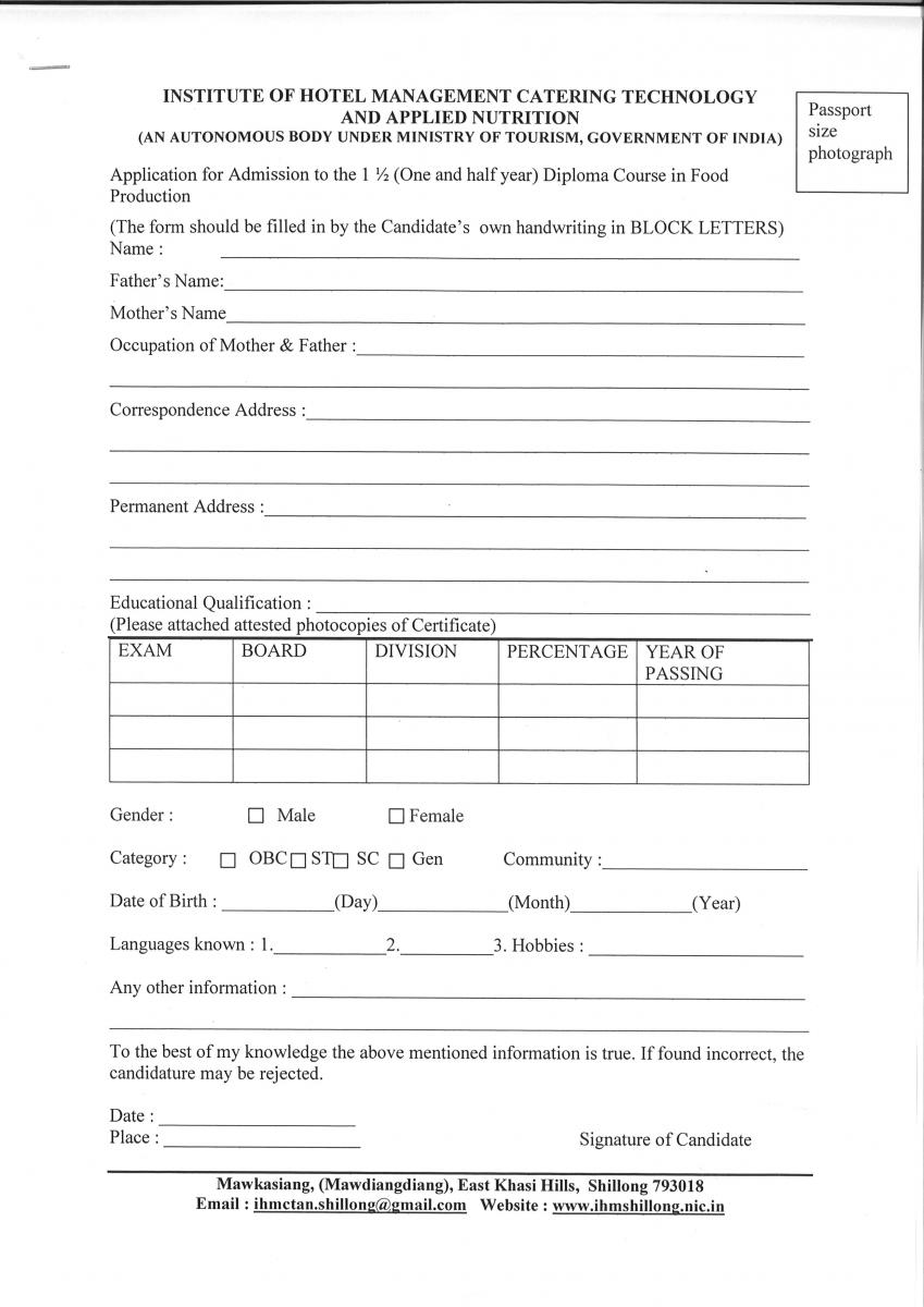 Admission Notice for B  Sc  in HHA, Diploma in Food Production, F& B